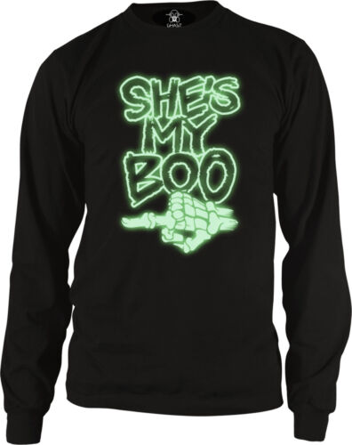 GLOW IN THE DARK Shes My Boo Skeleton Finger Funny Halloween Long Sleeve Thermal