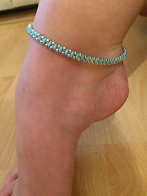 Aggressive Ankle Bracelet Anklet Turquoise/silver Glass Seed Bead Hippie Shock-Resistant And Antimagnetic Festival Beach Waterproof