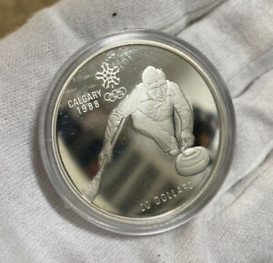 1987-Canada-20-Proof-1988-Calgary-Olympic-Coin-Curling-w-Capsule