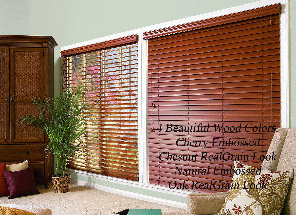 "2"" FAUXWOOD BLINDS 72"" WIDE x 37"" to 48"" LENGTHS - 4 GREAT WOOD COLORS!"