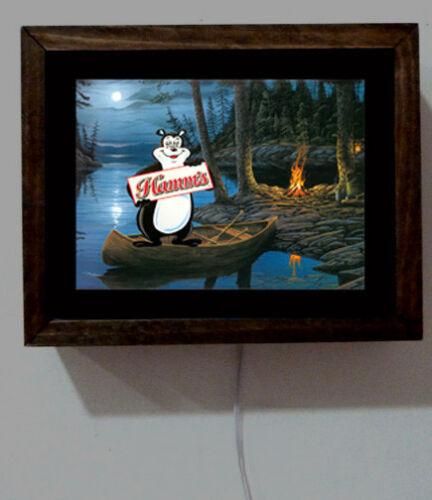 Hamm/'s Hamms Beer Bear Camping Tavern Bar Canoe Green Boat Light Lighted Sign