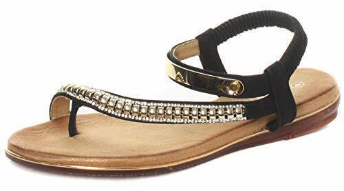 Cipriata Femmes Bride Arrière Bijoux toe post sandals style Iris L123a Noir Nouveau