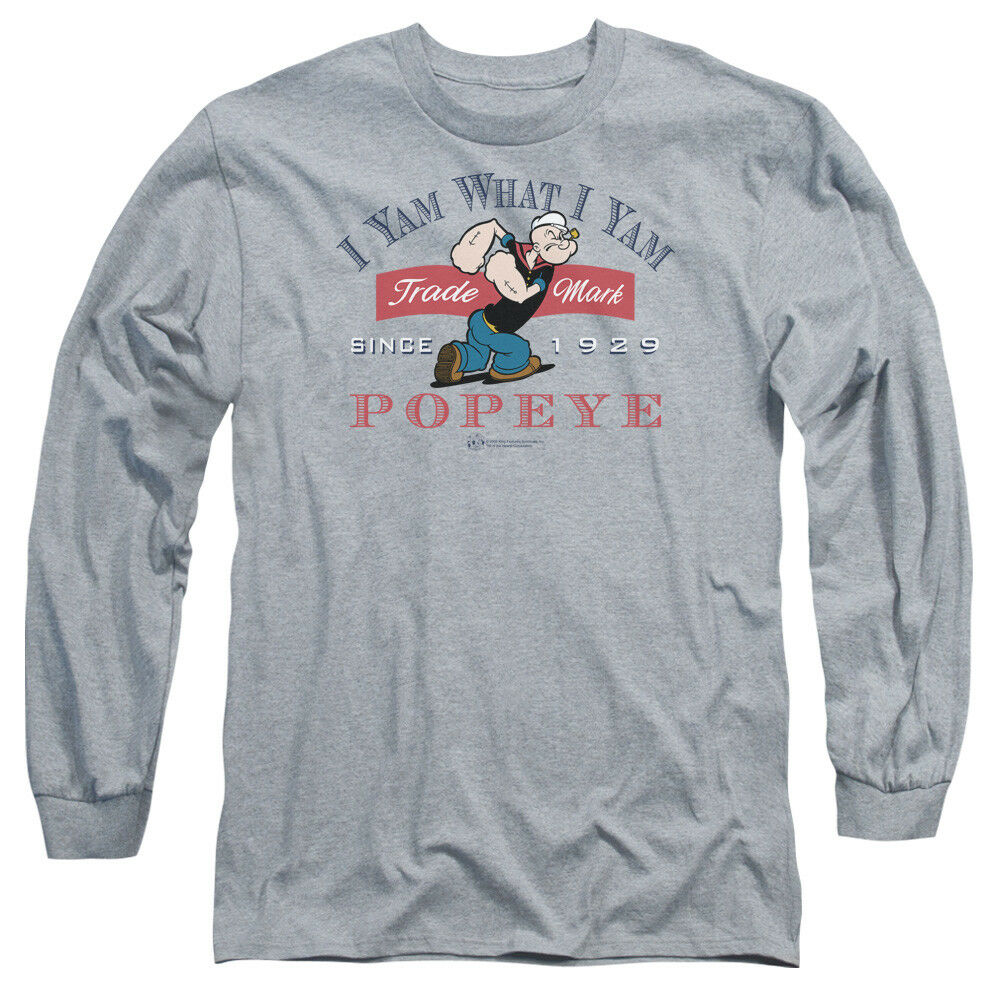 Popeye I YAM WHAT I YAM Since 1929 Licensed Adult Long Sleeve T-Shirt S-3XL