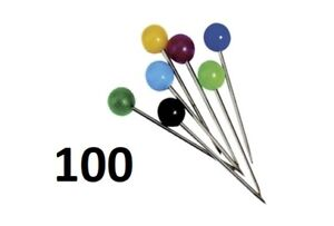 100-Exacompta-Pinnwandnadeln-Landkartennadeln-Markierungsnadeln-farbig-sortiert