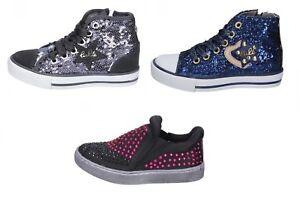 official photos 145ff 057ae Dettagli su LULU' scarpe sneakers bambina grigio paillettes camoscio blu  glitter nero strass