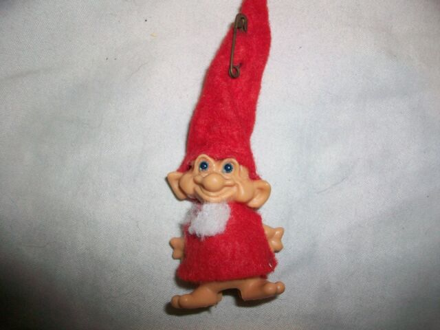 Vintage Santa Claus Reisler Troll Pencil Topper Top Doll Toy Blue Eyes Elf
