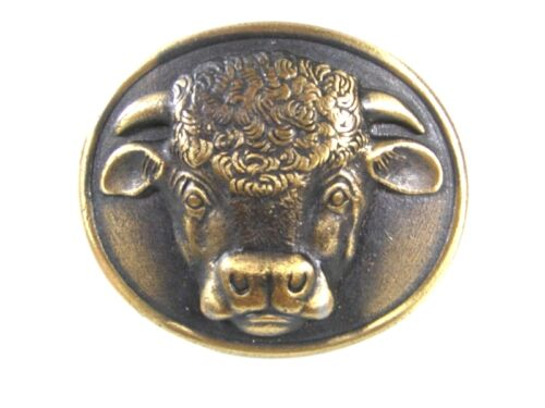 Vintage 1975 Malcolm Hereford Cows Cocktail Brass Belt Buckle 6416