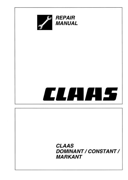 Claas Baler Dominant Constant Markant Repair Manual