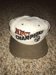 Vintage-Pittsburgh-Steelers-AJD-Snapback-Cap-Hat-Deadstock-90-039-s-AFC-Champions