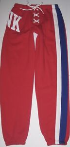 amazon top-rated cheap new photos Details about NWT VICTORIA'S SECRET PINK RED WHITE BLUE STRIPE LACE UP  CLASSIC PANT SWEATPANTS