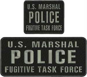 U.S MARSHAL POLICEFUGITIVE TASK FORCE EMB Patch 4.75x11/&4x5 hook on back GRAY
