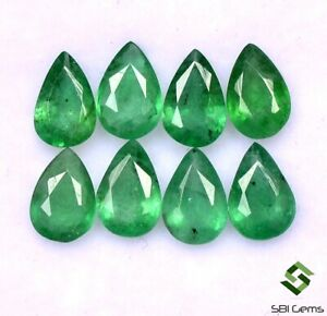 2-74-Cts-Certified-Natural-Emerald-Pear-Cut-6x4-mm-Lot-08-Pcs-Untreated-Gemstone