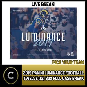2019-PANINI-LUMINANCE-FOOTBALL-12-BOX-FULL-CASE-BREAK-F182-PICK-YOUR-TEAM