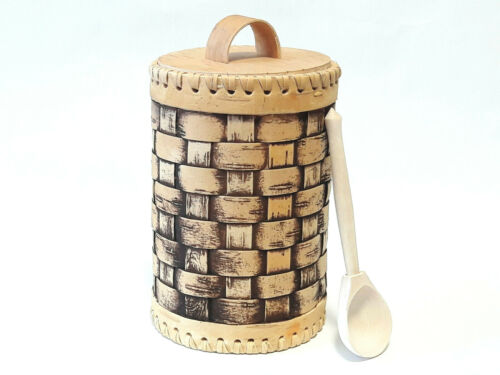 Holz Birkenrinde Vorratsgefäß Teedose Vorratsbehälter Kaffeedose mit Messlöffel