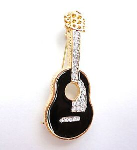 New-Brooch-Gold-Tone-Guitar-Crystal-Enamel-Pin-Musical-Instrument-Free-Shipping
