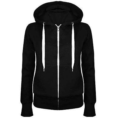 Ladies Zip Hoodies Plain Hoody Top Womens Sweatshirt Jacket Plus Size 14 - 28