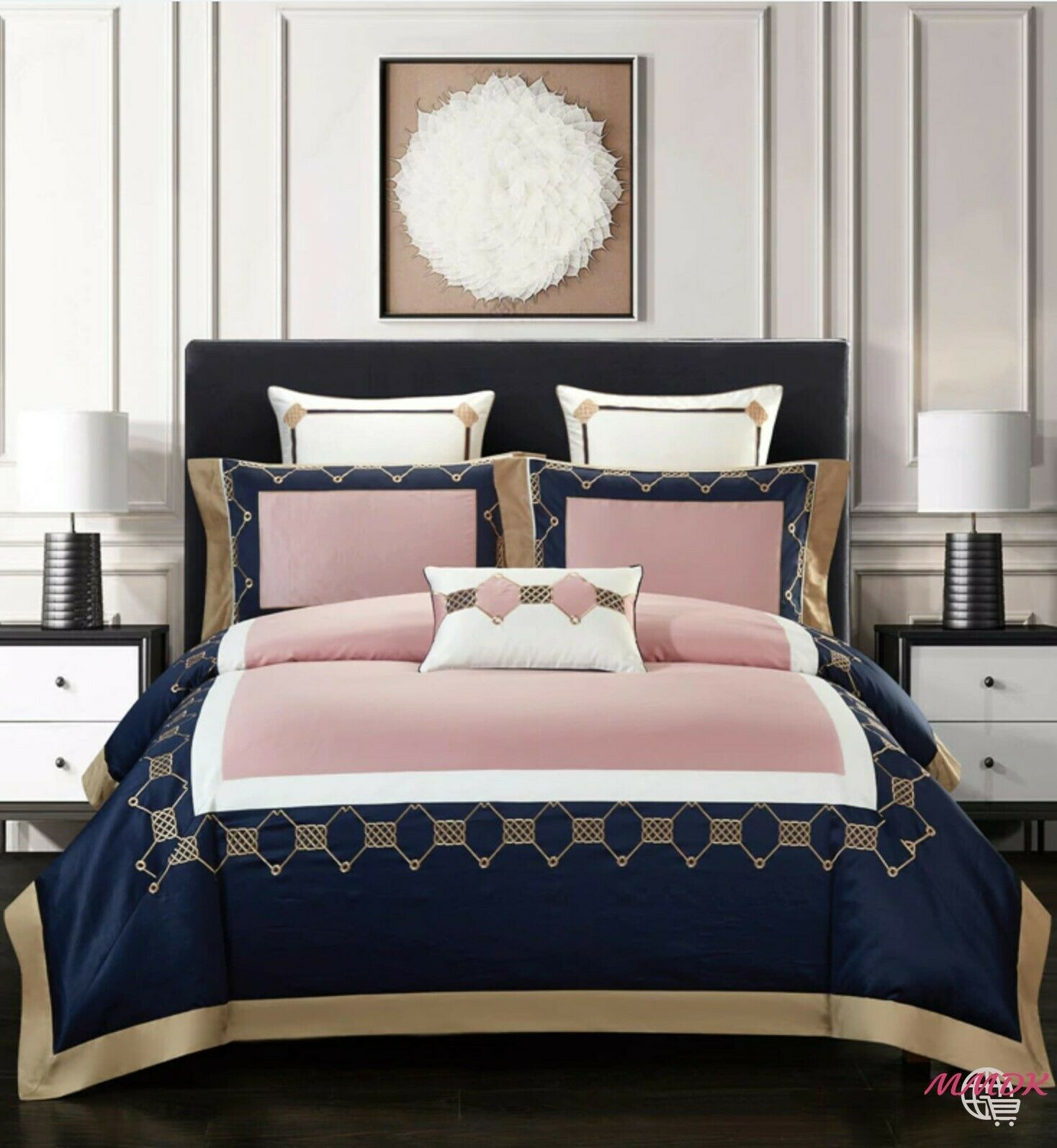 100%Egyptian Cotton Sanft Elegant Classic Embroiderot Duvet Startseite Bettding Set UPS