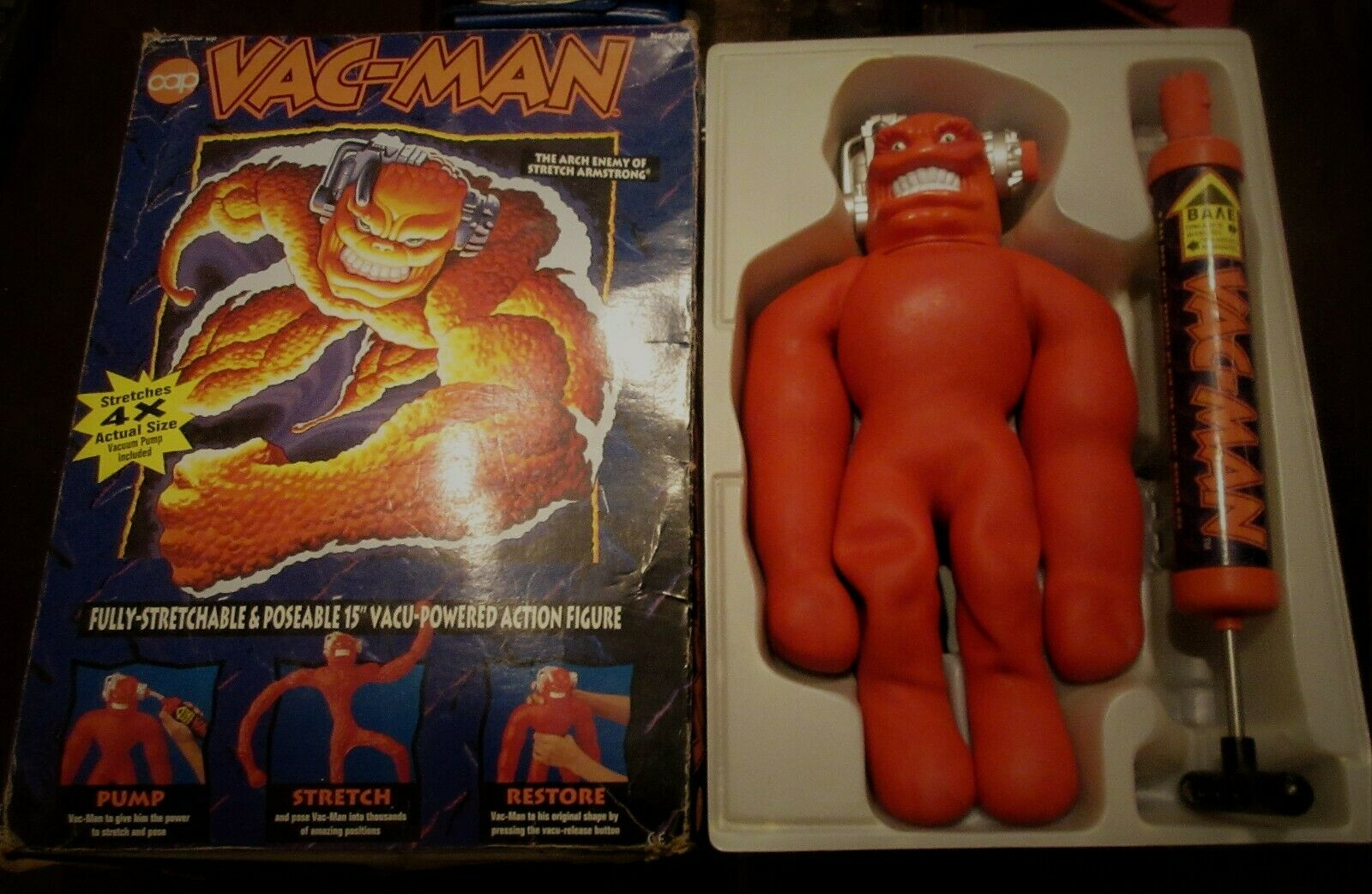 Jahr VAC-MAN Stretch Armstrong Wirkung Figure Cap Spielzeugs Greek Exclusive Primo
