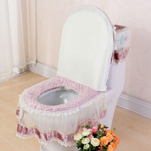 New Lace Bathroom Cover Set Toilet Seat Pad Tank Lid Top Warm Washable Cloth 3PC