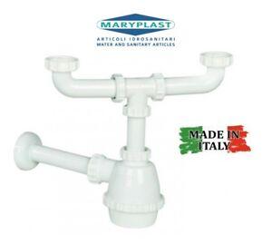 Sifone lavello pvc scarico lavello cucina 2 vasche attacchi 1 1 2 x 40 mm ebay - Scarico lavello cucina ...