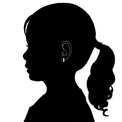 14K Real Yellow Gold CZ Princess Cut Huggie Huggy Baby Hoops Earring 3x9mm