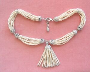 ART DECO 13+ctw DIAMOND 9 STRAND 3mm PEARL STATEMENT WEDDING COCKTAIL NECKLACE