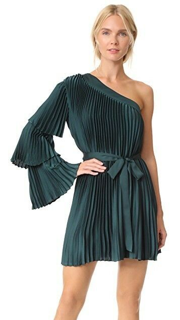 Keepsake Green Dress Water Tiered One Shoulder Mini Formal Size small