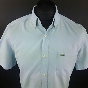 LACOSTE Chemise Homme 40 (petit) à manches courtes bleu Coupe Standard No Pattern Cotton