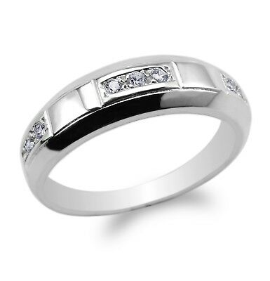 Couple Set 925 SterlingSilver Rhodium Plated Round CZ Pattern Ring Size 4-12
