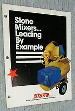 1987 Stone Construction Equipment Concrete Mixer 4 Page Color Brochure Free Sh