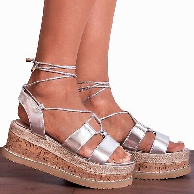Methodisch Silver Metallic Wedged Platforms Wedges Flatforms Lace Ups Strappy Sandals Size