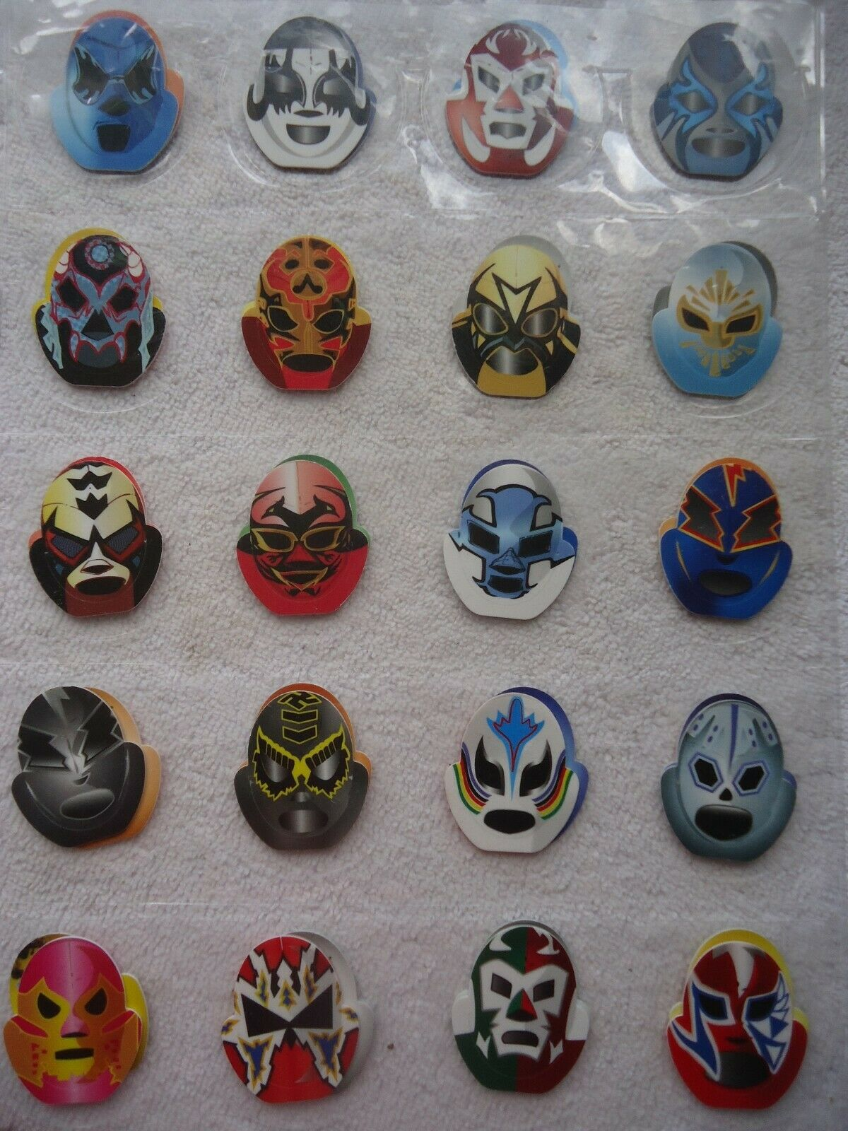COMPLETE COLLECTION OF 50 TAZOS POGS WRESTLING MASKS