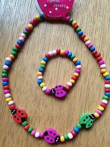 Lady Bird  UK Seller Childrens wooden Necklace and Bracelet....