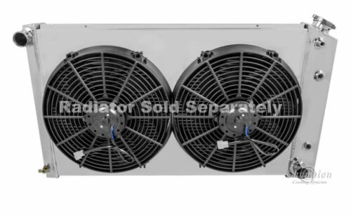 "17/""H x 28 1// Chevy Pickup Trucks Custom Aluminum Radiator Fan Shroud /& 14/"" Fans"
