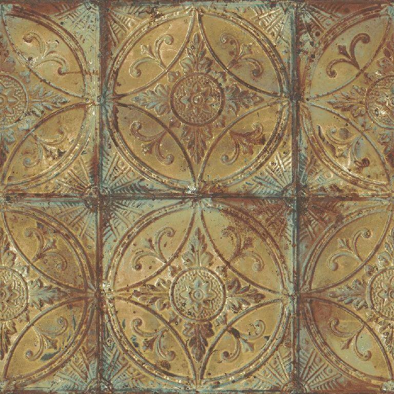 Essener Tapete Grunge G45376 Large Tile Ornament Beige Fleece Wallpaper Fleece