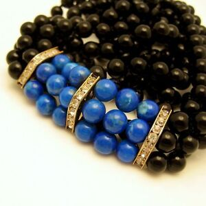Vintage-3-Strand-Glass-Beads-Long-Necklace-Faux-Onyx-and-Faux-Lapis-Gold-Plated