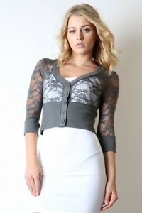 Women-Cropped-Lace-Cardigan-Sweater-Blouse-3-4-Sleeve-Casual-Lace-Slim-Fitted