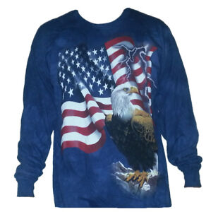 The-Mountain-Adult-Long-Sleeve-T-Shirt-Bald-Eagle-American-Flag-Patriotic-3X-NWT