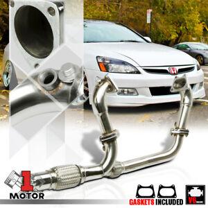 SS Exhaust Header Manifold+Y-Pipe for 03-07 Honda Accord 3.0 V6 J30A1 CM6/CM8