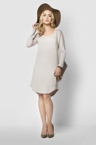 Womens Plain Shift Dress Long Sleeve Versatile Mini Dress Plus Sizes 8-18 FM11