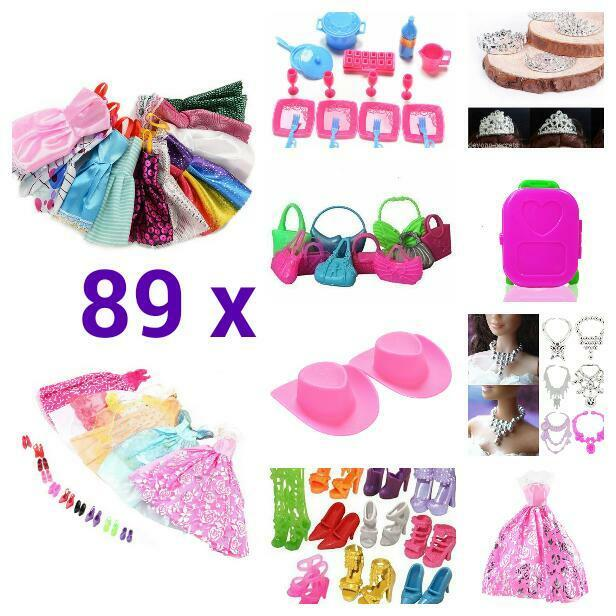 89 x bundle girls toy doll BARBIE clothes shoes accessories outfits dresses BC73