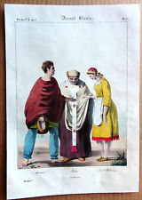 GRAVURE COULEUR 1834 DELAUNOIS COSTUMES AVANT CLOVIS PRETRE CURÉ ARTISAN k913