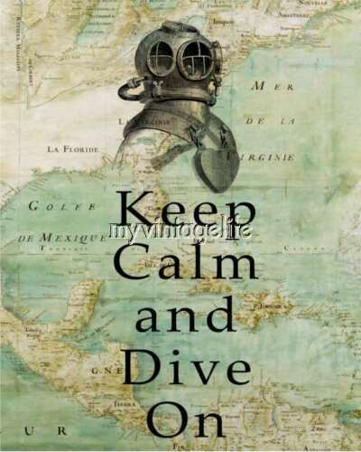 Vintage Nautical Map Keep Calm and Dive On Quilting Fabric Block