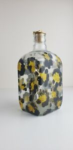 Spotted-Black-Yellow-Glass-Bottle-w-Cork-Raised-Design-Bar-Kitchen-Home-Decor