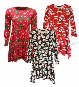 46d8f75930e New Women Ladies Plus Size Christmas Xmas Novelty Tunic Swing Top ...
