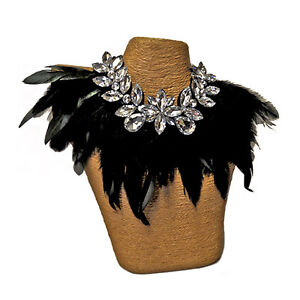 Adult-Gothic-Rooster-Feather-Ravenna-Victorian-Burlesque-Costume-Necklace-Collar