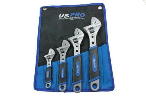 "US PRO Tools 4pc Adjustable Wrench Shifting Spanner Set 6/"" 8/"" 10/"" 12/"" 1835"