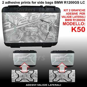 2 adesivi valigie vario BMW R1200GS Bussola Planisfero R 1200GS K50 dal 2013 GRG