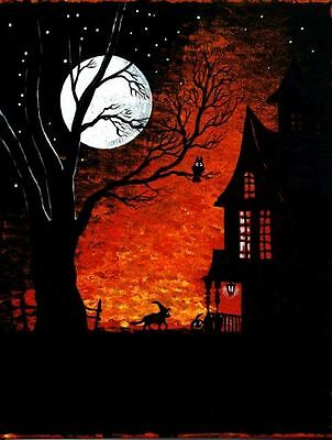 1.5x2 DOLLHOUSE MINIATURE PRINT OF PAINTING RYTA 1:12 HAUNTED HALLOWEEN HOUSE