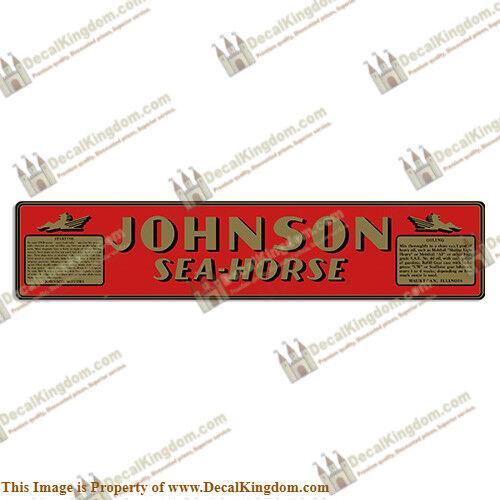 1940-1942 Johnson Sea Horse Outboard Engine Decal 3M Marine Grade Multiple HP